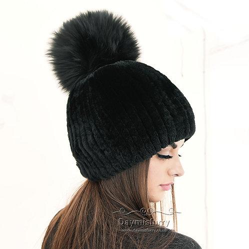 Rex Rabbit Fur Beanie Hat With Fox Fur Pom Pom