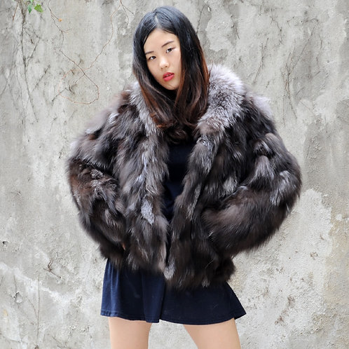 DMGA115 Finn Silver Fox Fur Lady Coat -Natural Colour