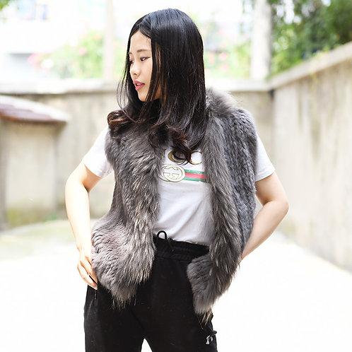 DMGB118C Rabbit Knitted Fur Gilet With Raccoon Fur Trim