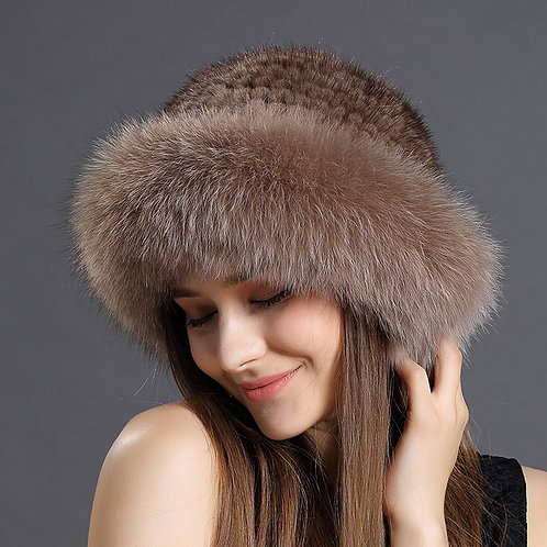 DMC209A Fox Fur Roller Hat with Mink Top