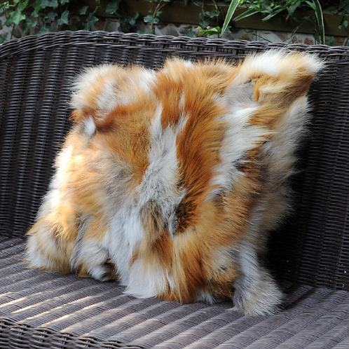 PatchWork Red Fox Fur Pillow / Cushion Cover, Real Fur Cushion, Real Fur Pillow