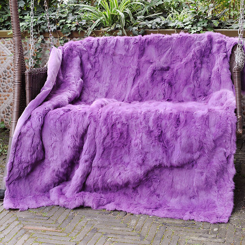 DMD11M Rabbit Fur Blanket / Throw in Lilac