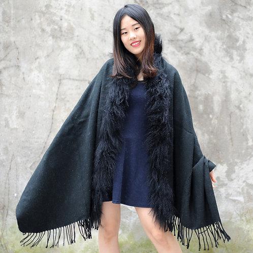 DMBP04A Black Mongolian Lamb Fur Blanket Shawl