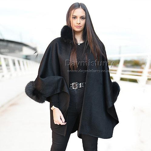 DMBP19D Cozy Fleece Wrap Shawl with Fox Fur Trim