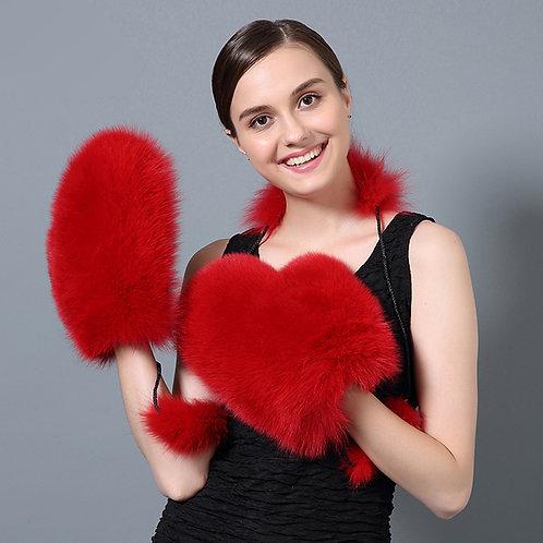 DMA67B Fingerless Sheepskin Gloves / Mittens With Fox Fur