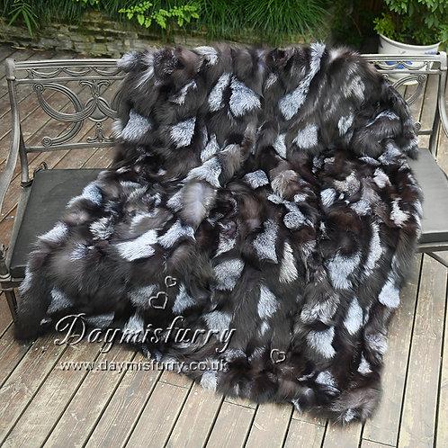 DMD67 Silver Fox Fur Blanket / Fur Throw - Housewarming gift