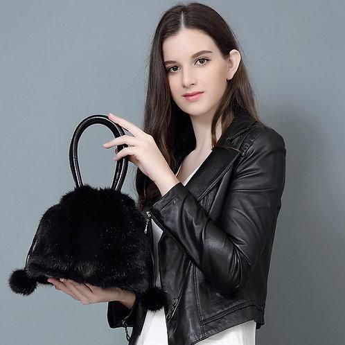 DMH18 Premium Full Pelt Mink Fur Handbag with Leather Accents