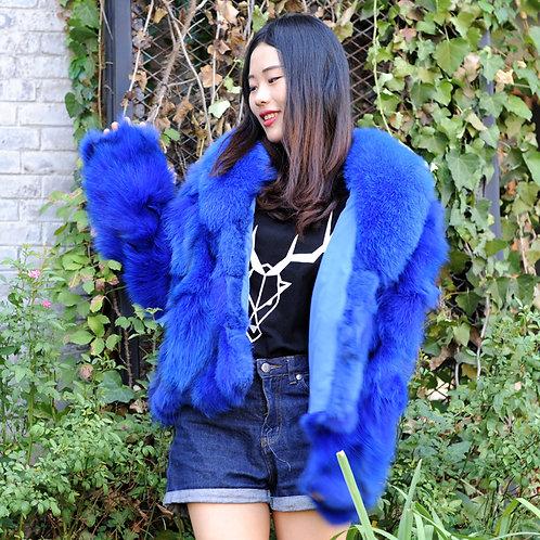 DMGA258A Finn Fox Fur Lady Coat In Royal Blue