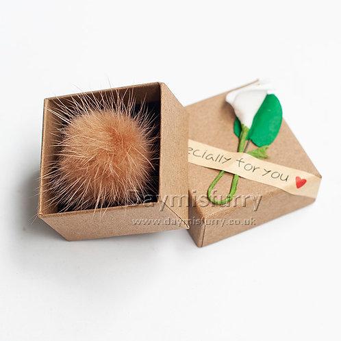 Puffs Fur Ball Ring Real Mink Hair Fluffy Rings Poms Fur Rings