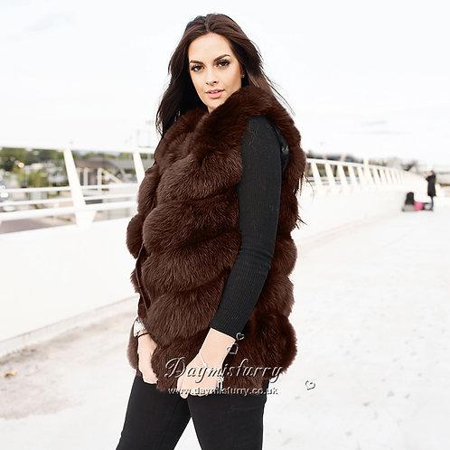 DMGB04P Fox Fur Vest in Chocolate