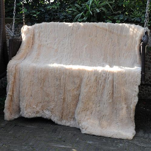DMD10N Knit Rabbit Fur Throw Blanket