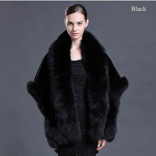 DMBM05K Black Mink Fur  Cape with Fox Fur Trim
