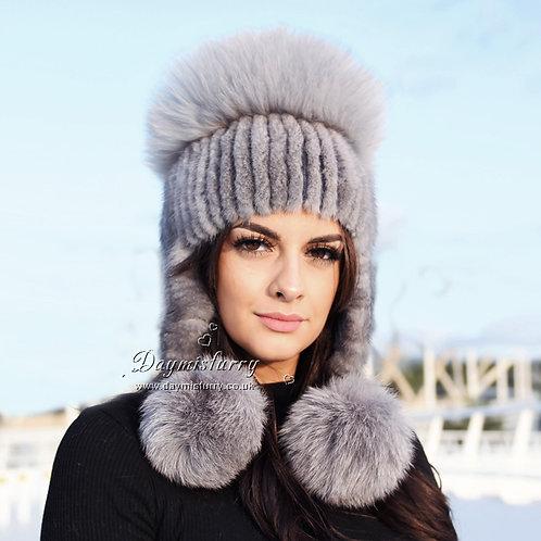 DMC61A Grey Mink Fur Hat With Fox Fur Top and Fur Pom Pom