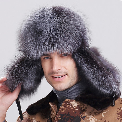 DMC47B Silver Fox Fur Trapper Hat