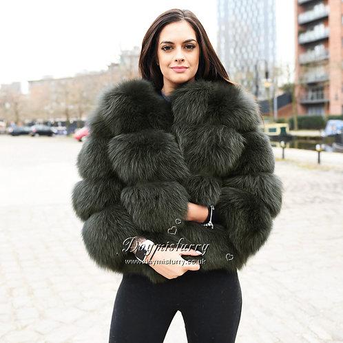 DMGA11F  Luxury  Fox Fur Jacket - Deep Forest