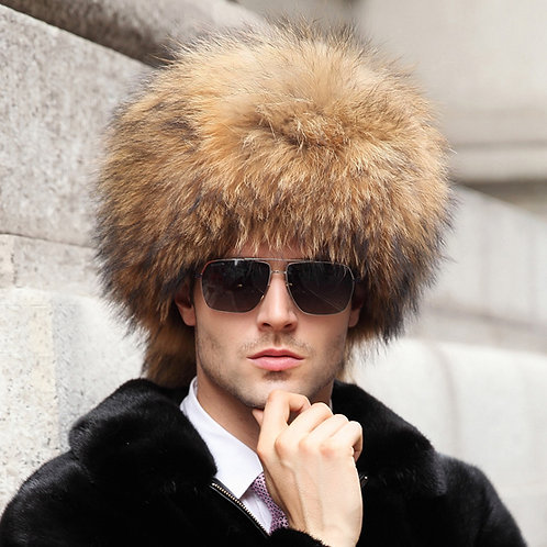 DMC169A  Racccoon Fur Pill Box Hat With Two Tails In Natural