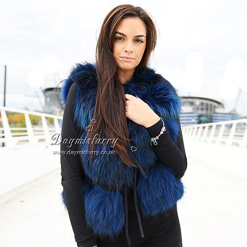DMGB103F   Raccoon Fur Horizontal Design Gilet -Royal Blue