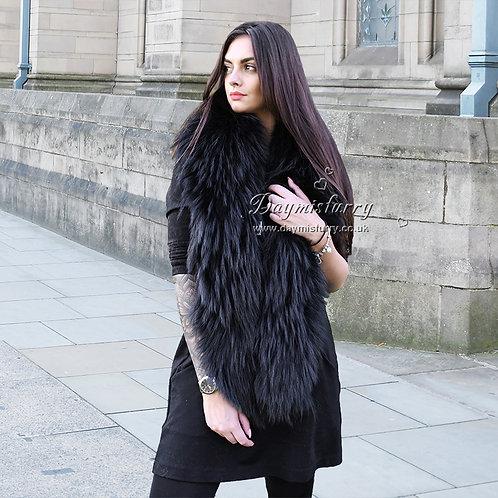DMB101B Large Detachable Finn Raccoon Fur Collar - Black