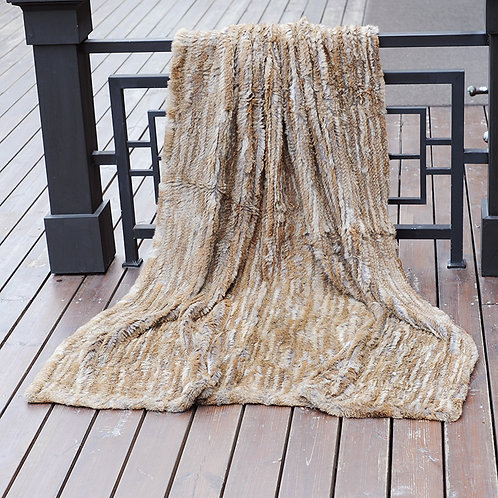 "DMD10A Knit Rabbit Fur Throw in Natural Tan 59""x79"""