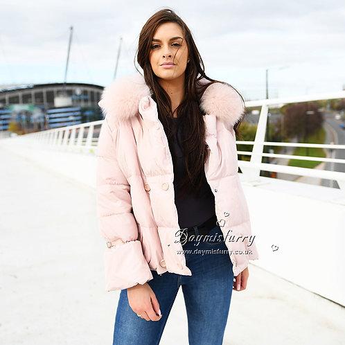 DMGD04B Down Jacket With Detachable Fox Fur Collar
