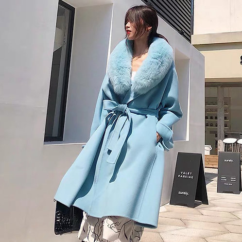 DMGT19B Sky Blue Cashmere Wool Coat With Fox Fur Collar