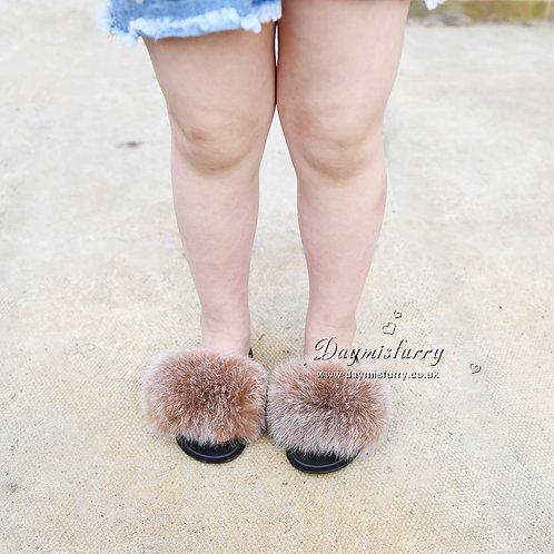 DMA66J Fox Fur Children's Slipper - Camel Frost