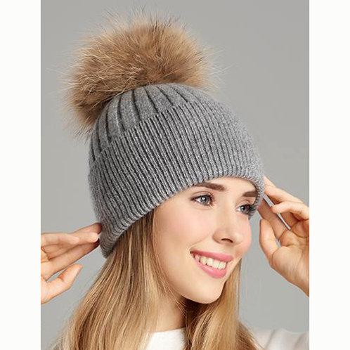 DMC50C  Woolen Beanie Hat With Raccoon Pom Pom