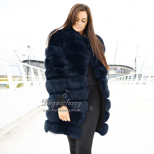 DMGA15C  Fox Horizontal Fur Coat - Twilight Blue
