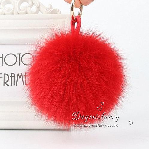 DMAR32C Fox Fur Pom Pom Bag Charm - Red
