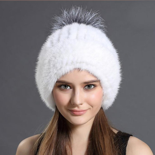 DMC239S Knit  Mink Fur Hat With Silver Fox Fur Pom Pom