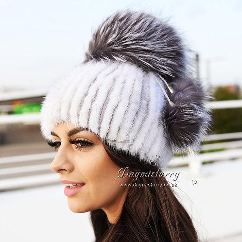 DMC56F Cross Mink Fur Hat With Silver Fox Pom Pom