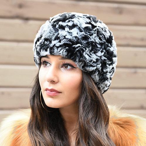 DMC191 Knit Rex Rabbit Fur Beanie Hat