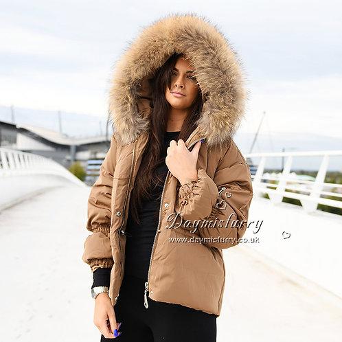 DMGD03B Camel Down Jacket With Racccoon Fur Collar