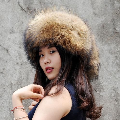 DMC169A Trendy Looking  Raccoon Fur Pill Box Hat With Two Tails.