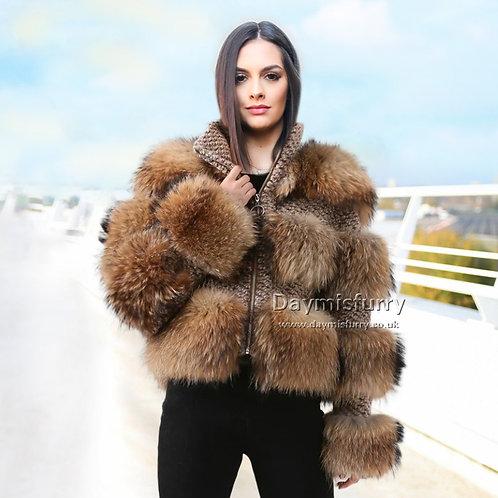 DMGA06 Raccoon and Tweed Fur Coat / Bomber Jacket