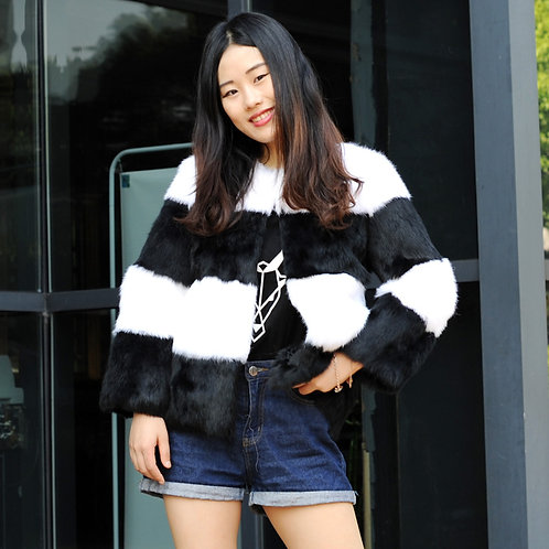 DMGA248 Rabbit Fur Lady Coat In Black And White