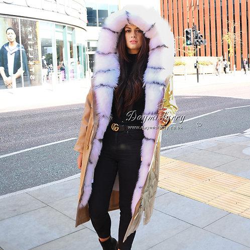 DMGP33B Rabbit Fur Parka Winter Jacket With White Fox Fur Trim