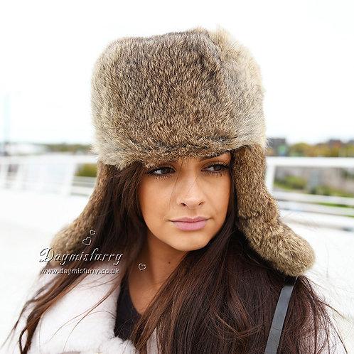 DMC26B Brown Rabbit Fur Russian Ushanka Hat