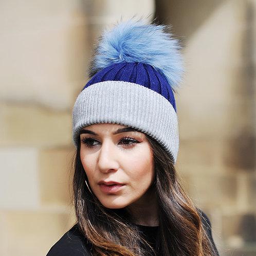 DMC45G  Wool Beanie Hat With Raccoon Fur Pom Pom