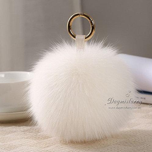 DMAR32F Fox Fur Pom Pom Bag Charm / Fox Fur Ball - White