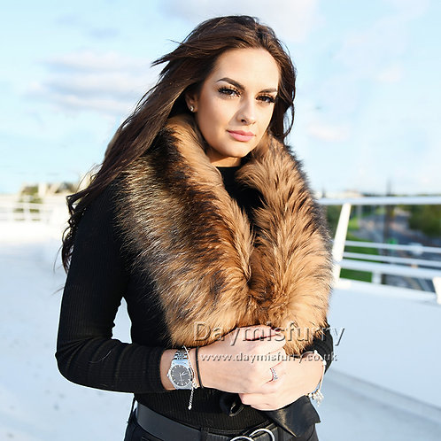 DMA17A Large Detachable Raccoon Fur Collar Scarf