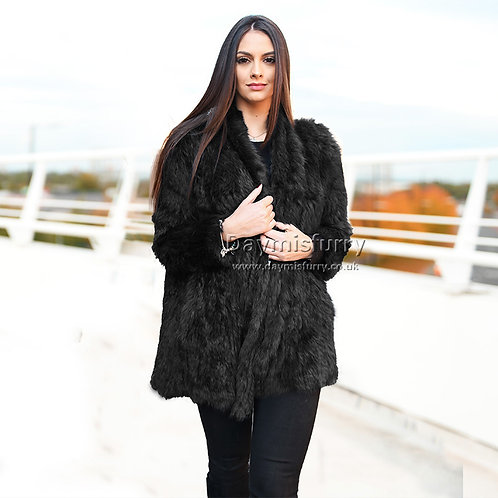 DMGA139D Knit Rabbit Fur Fashion Coat - Black