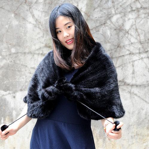 Hot Style Knit Mink Fur Shawl In Black