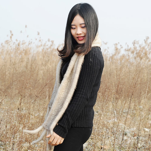 DMS12F Knitted Mink Pull Through Fringe Scarf in Sunlight