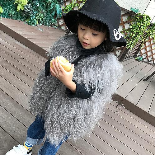 DMGC07C  Chic Style  Grey Mongolian Lamb Children's Gilet