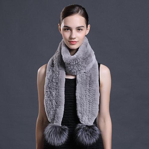 DMS111 Rex Rabbit Fur Knit Scarf With Silver Fox Fur Pom Pom