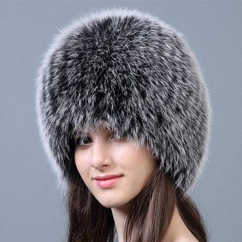 DMC215G Knit Finn Black Frost Fox Fur Hat