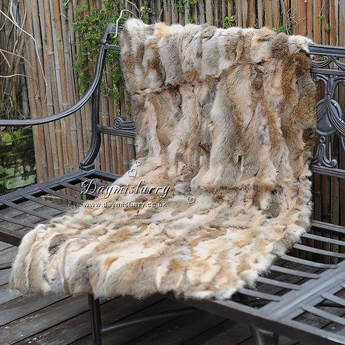 DMD18B  Patchwork Rabbit Fur Rug in Natural Tan