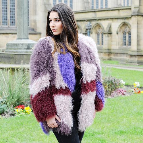 DMGA90B Patchwork  Mongolia Lamb Fur Lady Coat