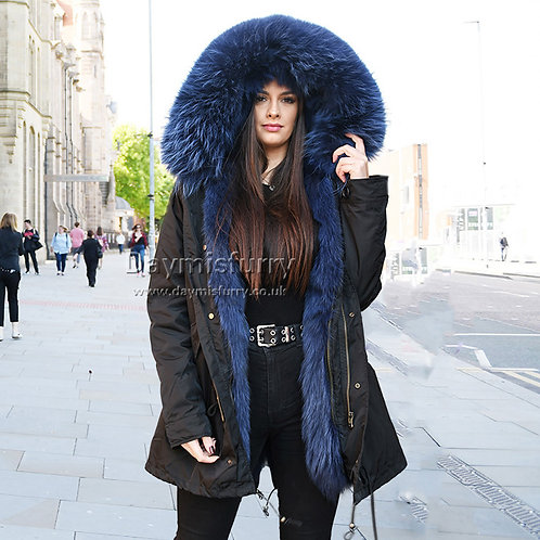 DMGP12C Fox Fur Parka Jacket with Raccoon Fur Hood Trim